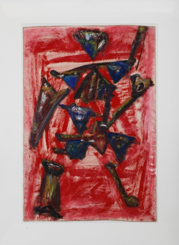 """""""Rosa und Blutig"""", Mischtechnik auf Papier, 83 cm x 56 cm"""