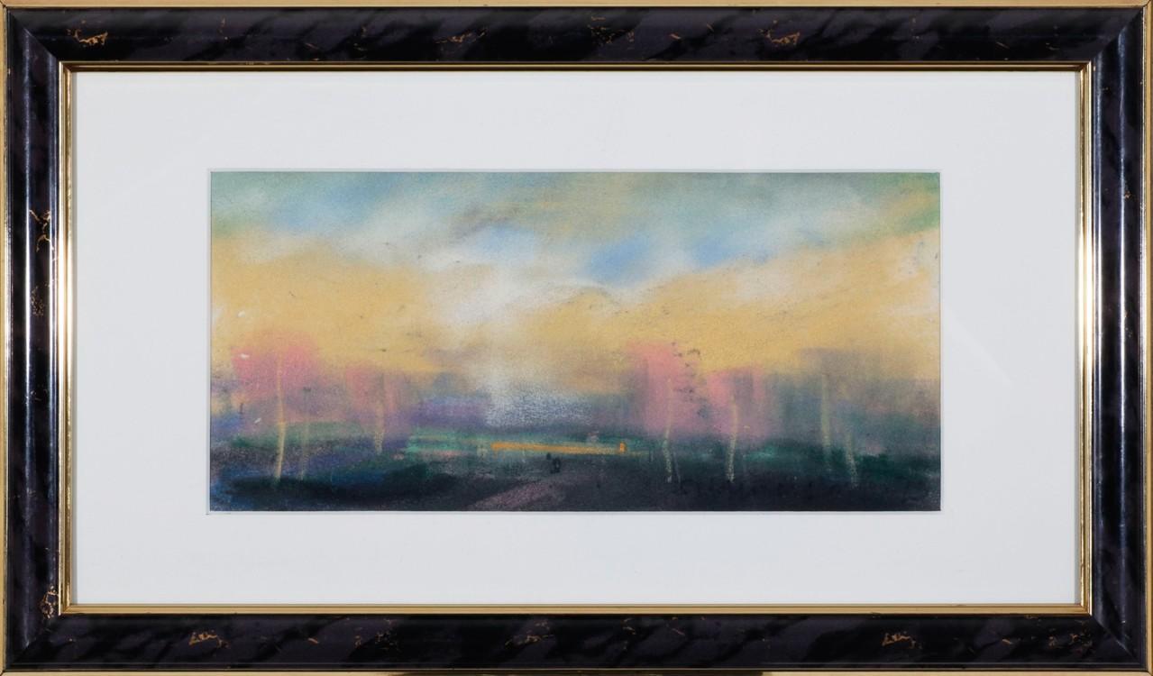 Landschaft, Pastell auf Papier, 14 cm x 30,5 cm