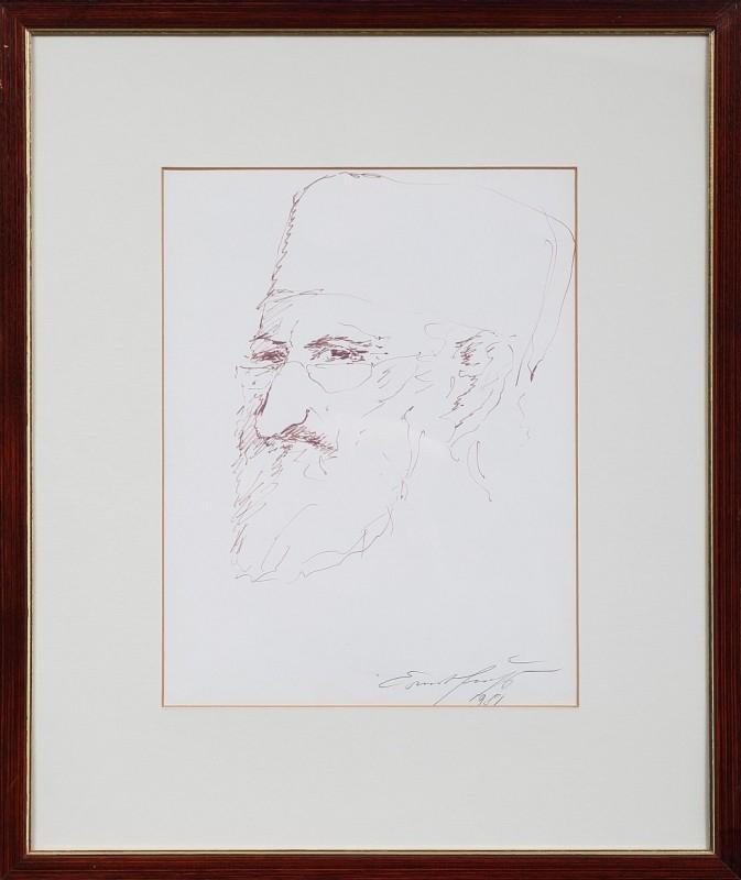 Selbstportrait, Tusche auf Papier, 39 cm x 30 cm