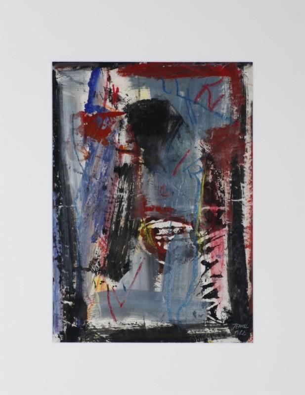 abstrakt, Mischtechnik auf Papier, 58 cm x 35 cm