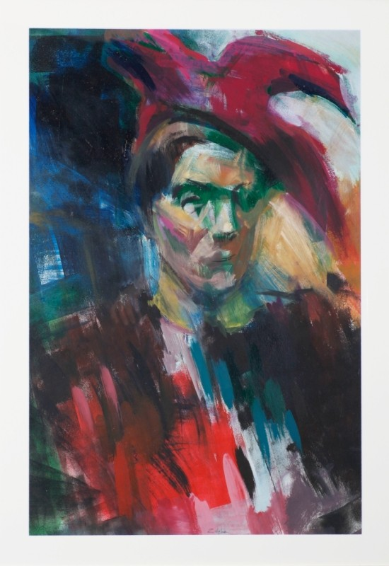 """Frau mit Doktorhut"", Acryl auf Papier, 87 cm x 58 cm"