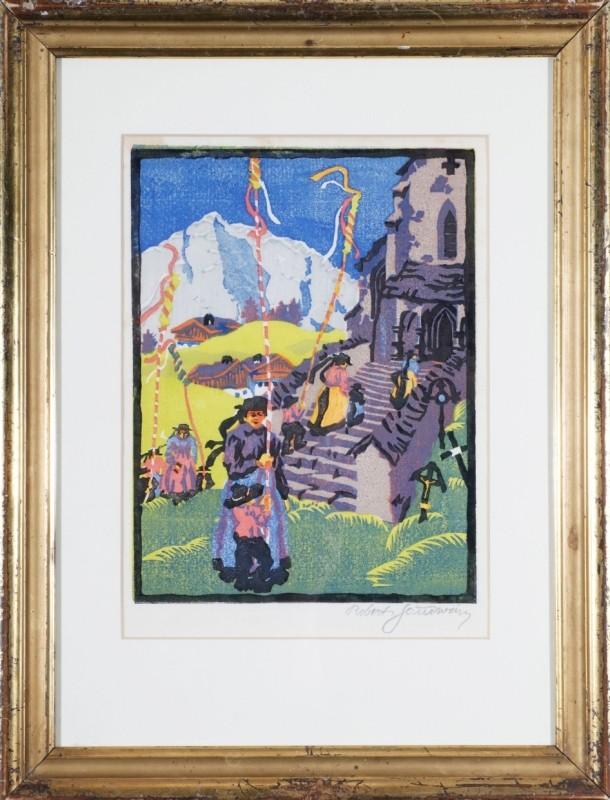 """""""Palmprozession"""", Farbholzschnitt, 26 cm x 19,5 cm"""