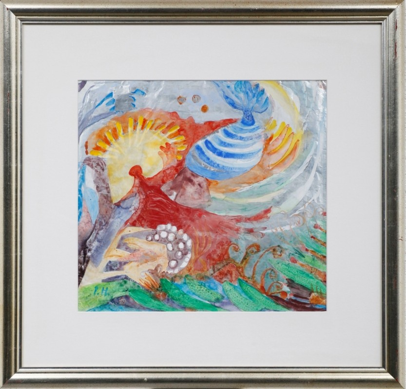 abstrakt, Tempera auf Alufolie, 40 cm x 42 cm