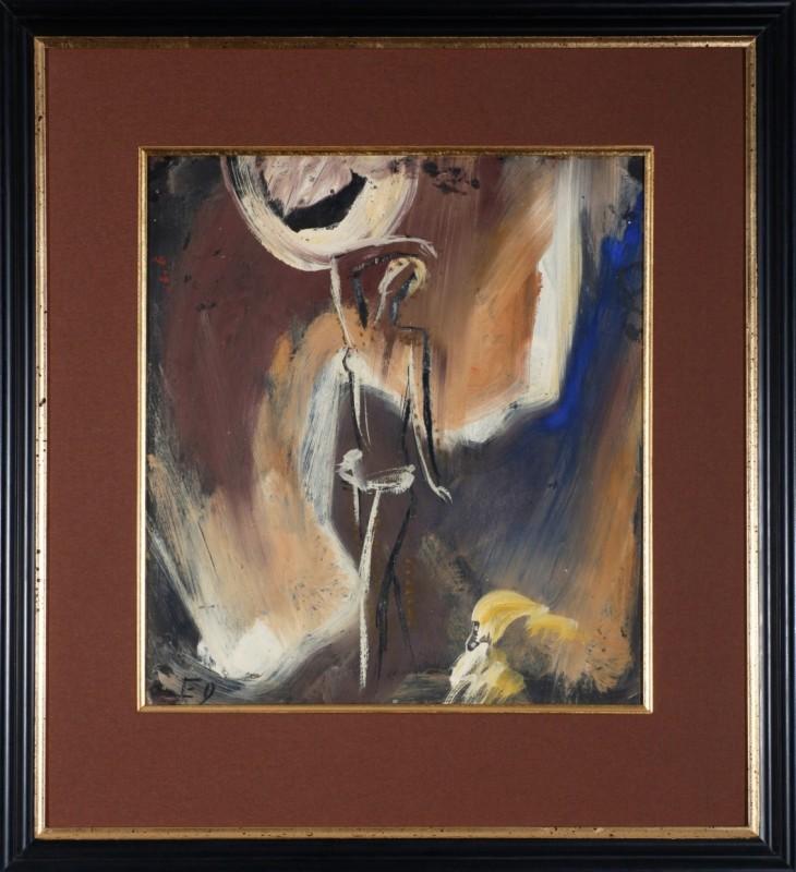 Tänzerin, Sgraffittotempera, 42 cm x 38 cm