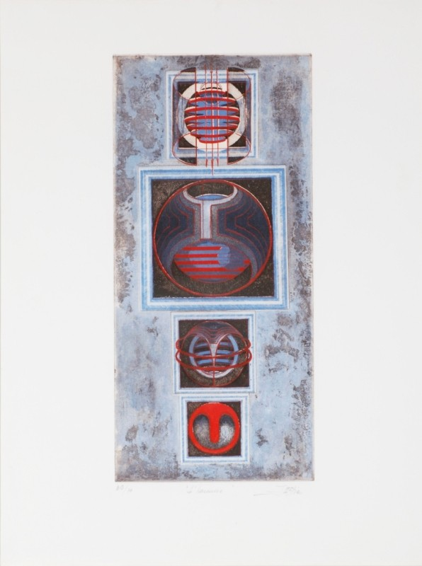 """La Femme"", Farbradierung, 51 cm x 23 cm"