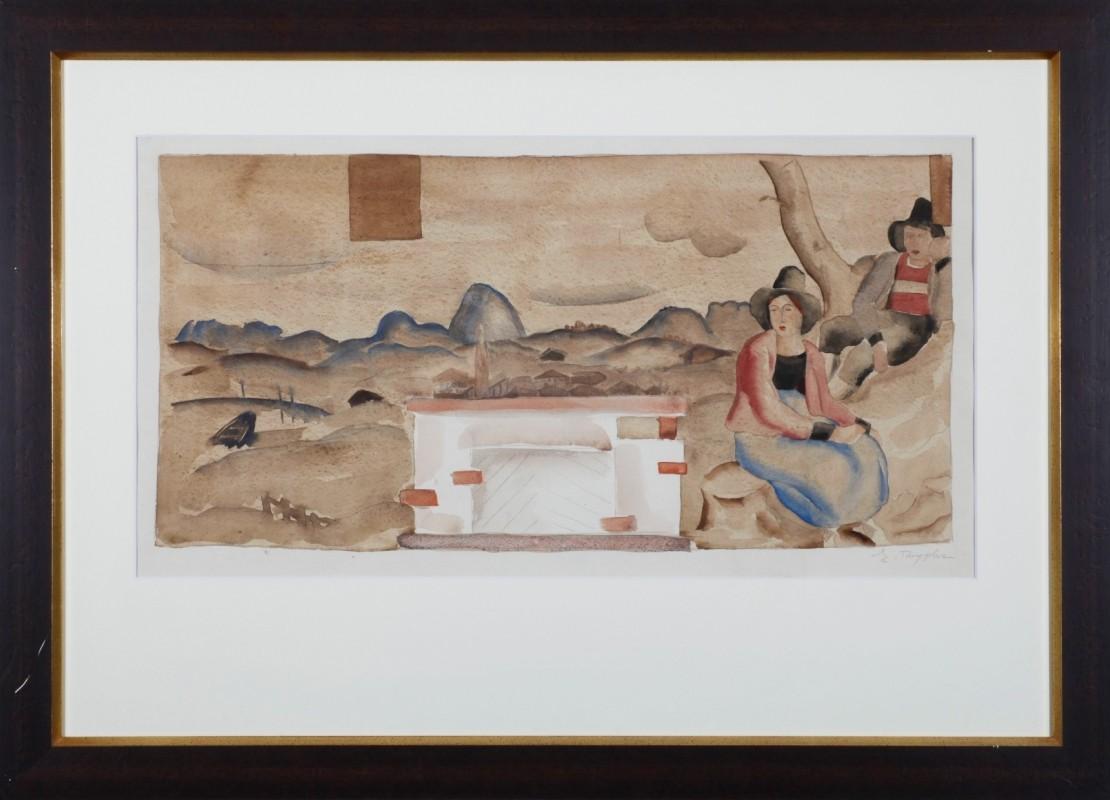 Seefeld, Aquarell, 31 cm x 64 cm