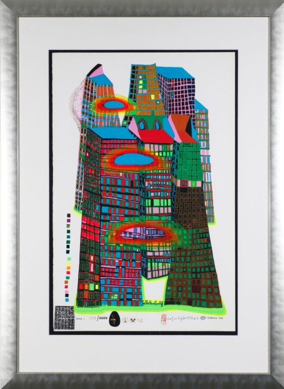 """Good Morning City"", Siebdruck mit Metall, 85 cm x 55,5 cm"