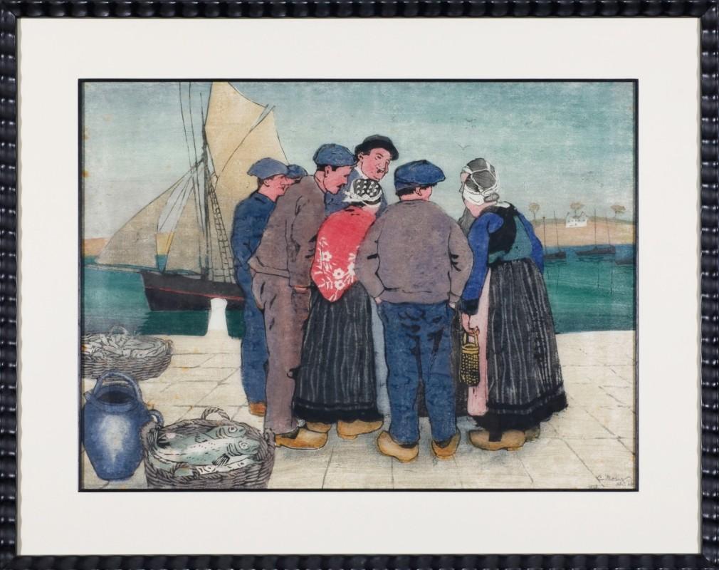"""Szene am Hafen"", Farbholzschnitt, 42 cm x 58 cm"