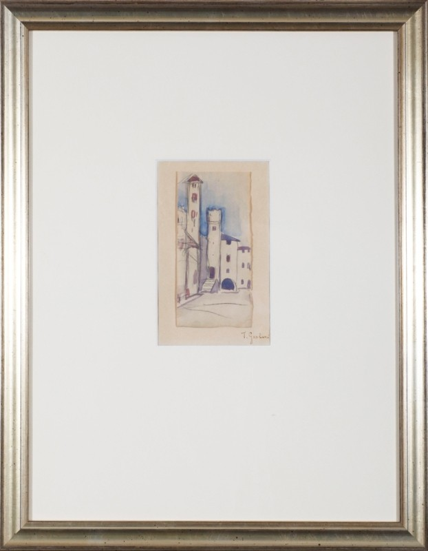 Stadt, Aquarell, 17 cm x 11 cm