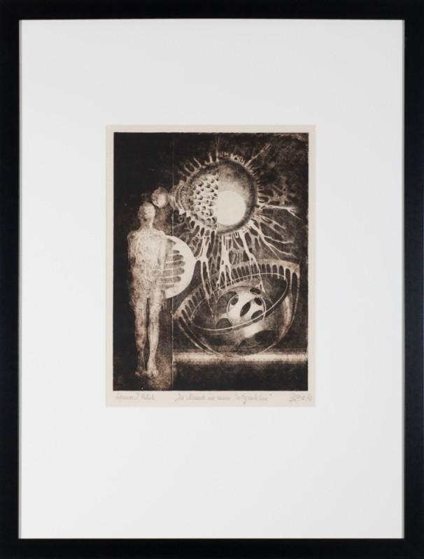 """""""Der Mensch im neuen Zeitgeschehen"""", Radierung, 39 cm x 29,5 cm"""