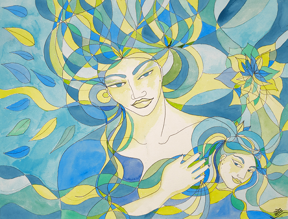 Mère et fille.  Aquarelle  ~  61 cm sur 46 cm