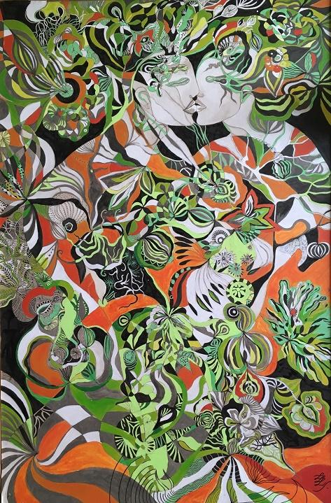 Nos intérieurs. Aquarelle, feutres, encre de chine et peinture acrylique ~ 80x120cm