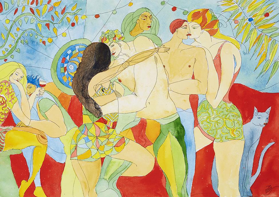 Jalouse à la fête . Aquarelle sur papier Arche ~ 51 cm sur 36 cm
