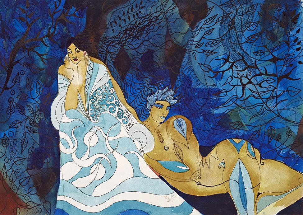 L'amant bleu et les fantômes . Aquarelle sur papier Arche ~ 51 cm sur 36 cm   ~vendu
