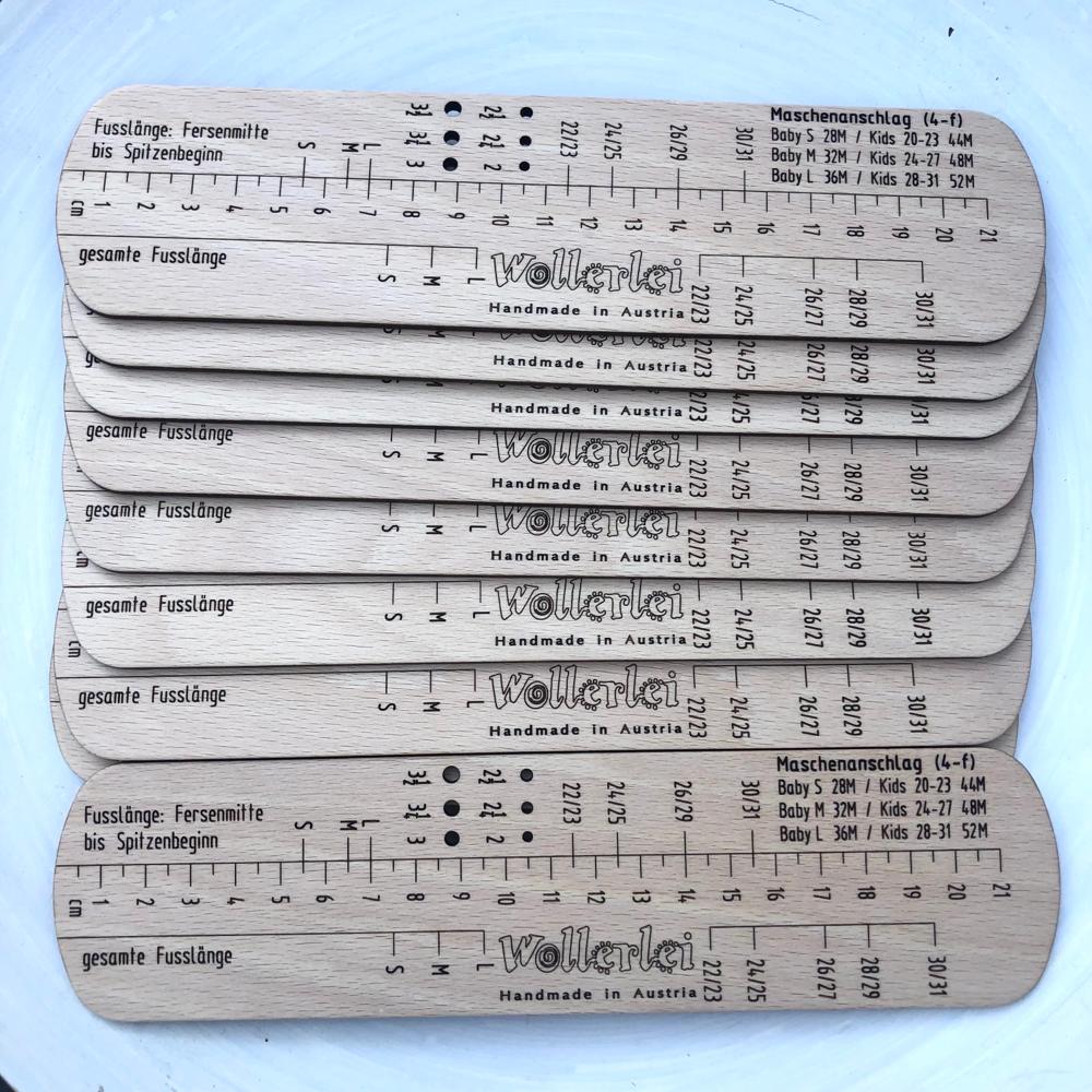 Sockenlineal für Baby- und Kindersocken