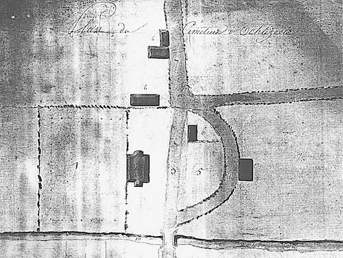 Plan de 1813 établi par l'architecte Gervais afin de demander un nouveau tracé pour la route passant autour du cimetière