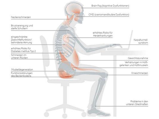 Ständiges und langes sitzen führt zu vielseitigen gesundheitlichen Einschränkungen