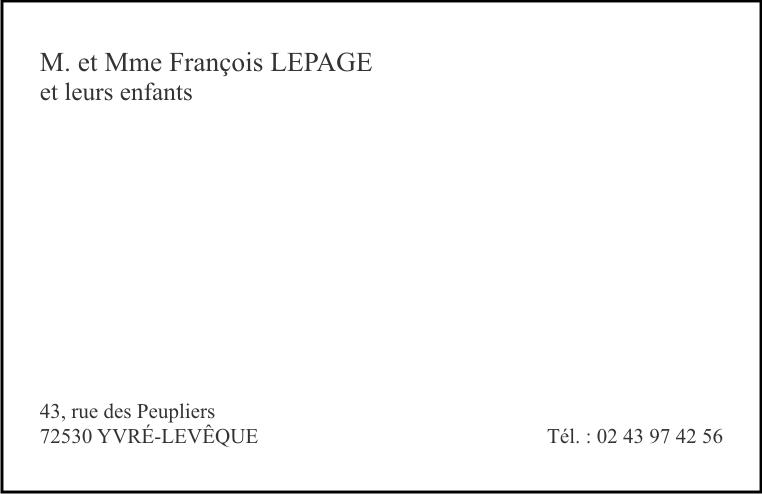 Cartes Pour Les Particuliers Format 12882 Modeles Dimpression Et Type Decriture Sur Catalogue Disponible En Boutique Possibilite De Choisir Un