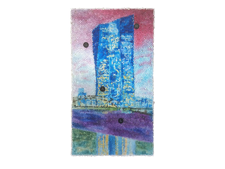 GRAL,  Glaskugeln, Plexiglas auf Öl, Leinwand und Holz, 2017, 80 x 45 cm