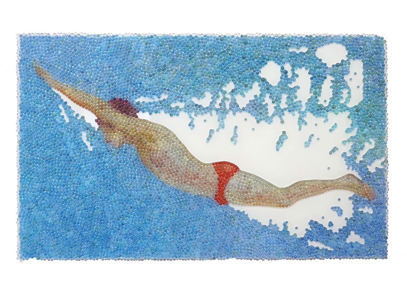 Alle Lust will Ewigkeit 2, Glaskugeln, Plexiglas auf Öl, Leinwand und Holz, 2018, 60 x 100 cm