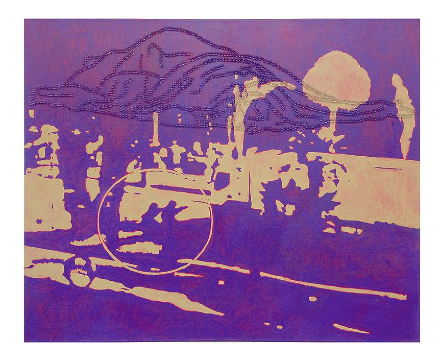 Schatten über Nizza, 90 x 120 cm, Öl und Glaskugeln auf Leinwand, 2016
