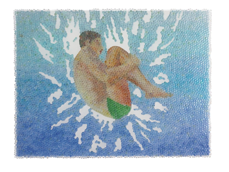 Alle Lust will Ewigkeit 3, Glaskugeln, Plexiglas auf Öl, Leinwand und Holz, 2018, 60 x 80 cm