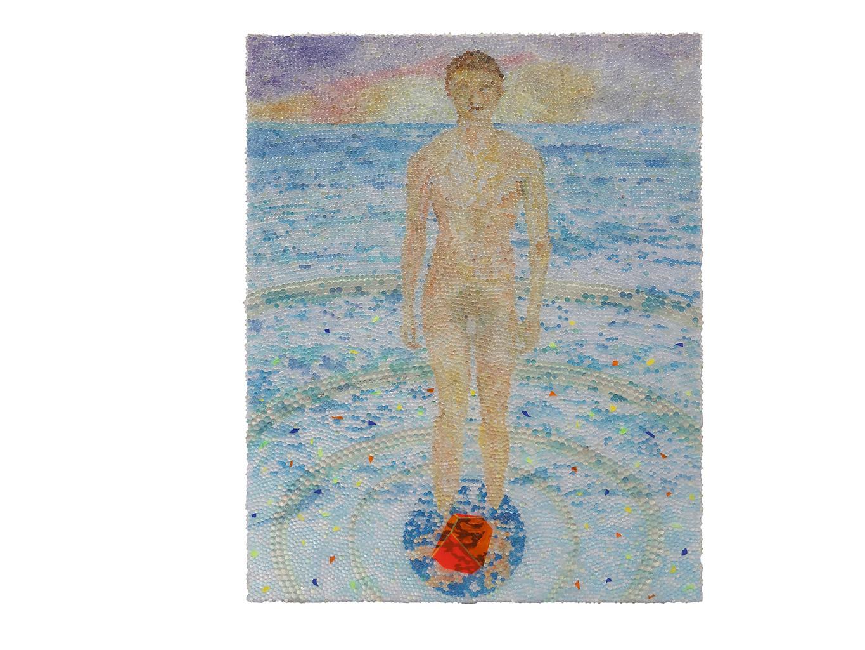 Melancholia Plastica, Glaskugeln, Plexiglas auf Öl, Leinwand und Holz, 2019, 100 x 80 cm