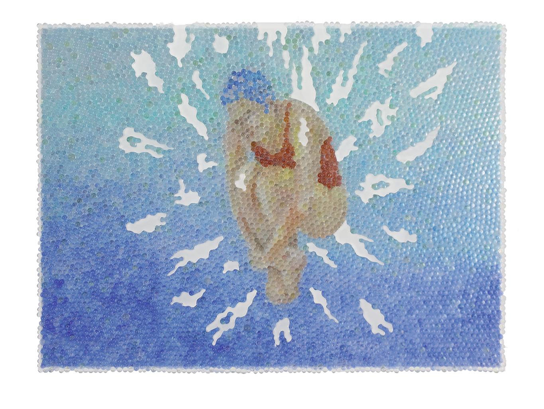Alle Lust will Ewigkeit 4, Glaskugeln, Plexiglas auf Öl, Leinwand und Holz, 2018, 60 x 80 cm