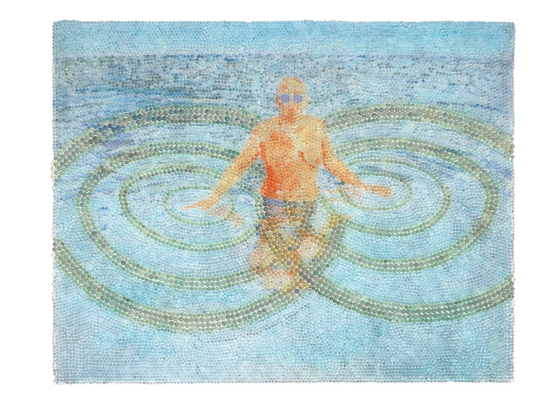Sommersee, Glaskugeln, Plexiglas auf Öl, Leinwand und Holz, 2017, 80 x 100 cm