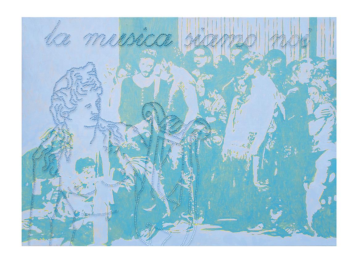 la musica siamo noi  (Die Musik sind wir)  130 x 150 cm, Öl und Glaskugeln auf Leinwand, 2016