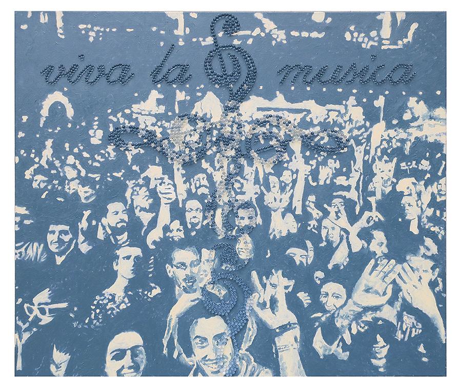 """""""Viva la musica"""",  100 x 140 cm, Öl und Glaskugeln auf Leinwand, 2016"""