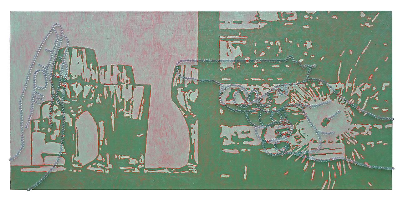 NO 2,  50 x 120 cm, Öl und Glaskugeln auf Leinwand, 2017
