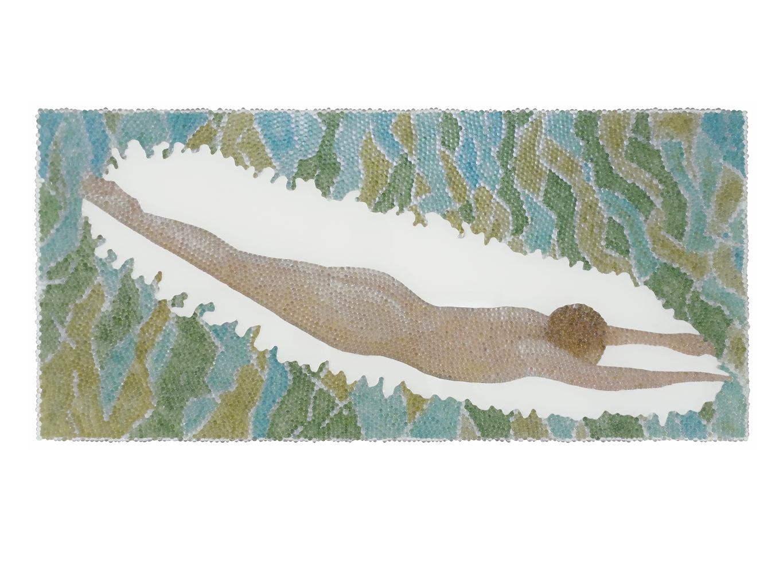 Alle Lust will Ewigkeit 6, Glaskugeln, Plexiglas auf Öl, Leinwand und Holz, 2018, 60 x 130 cm
