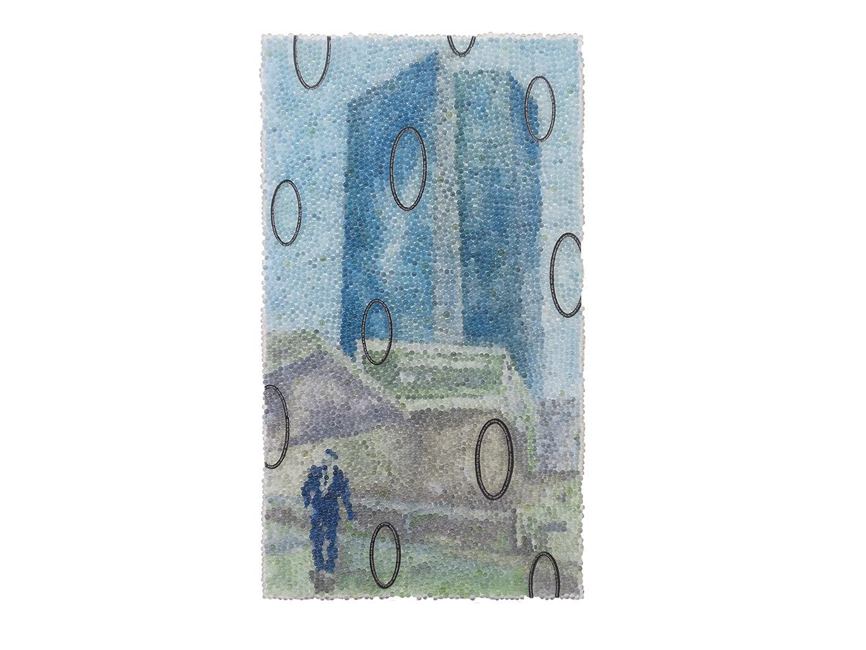 Null, Glaskugeln, Plexiglas auf Öl, Leinwand und Holz, 2017, 80 x 45 cm