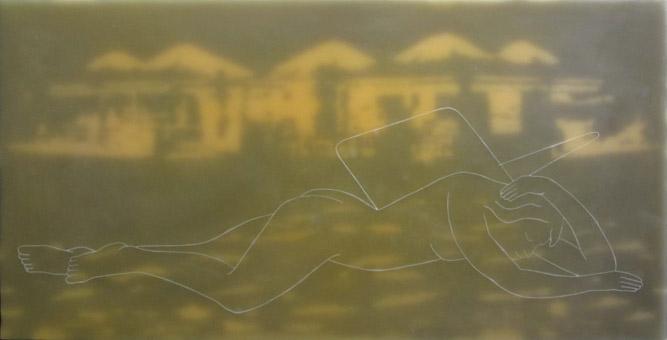 """""""Musengang V"""" 2011, Paraffin auf Leinwand und Holz, 60 x 120 cm, Sammlung der Goethe Universität Frankfurt am Main"""