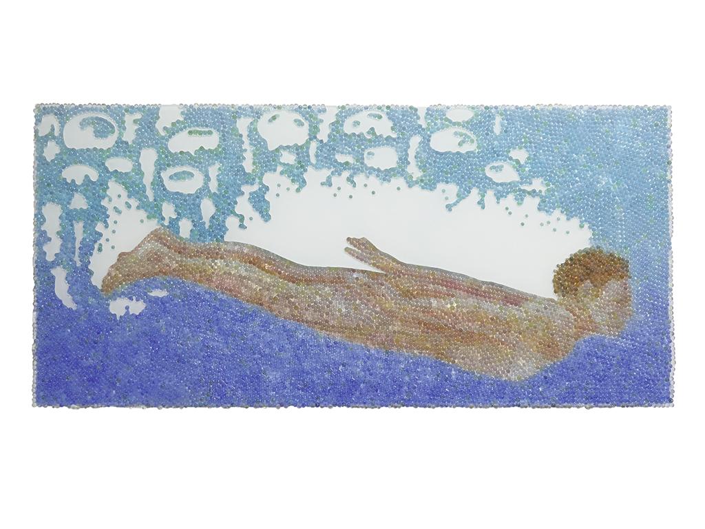 Alle Lust will Ewigkeit 5, Glaskugeln, Plexiglas auf Öl, Leinwand und Holz, 2018, 60 x 130 cm