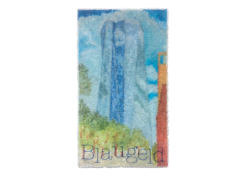 Das Blaue vom Himmel ...,  Glaskugeln, Plexiglas auf Öl, Leinwand und Holz, 2017, 80 x 45 cm