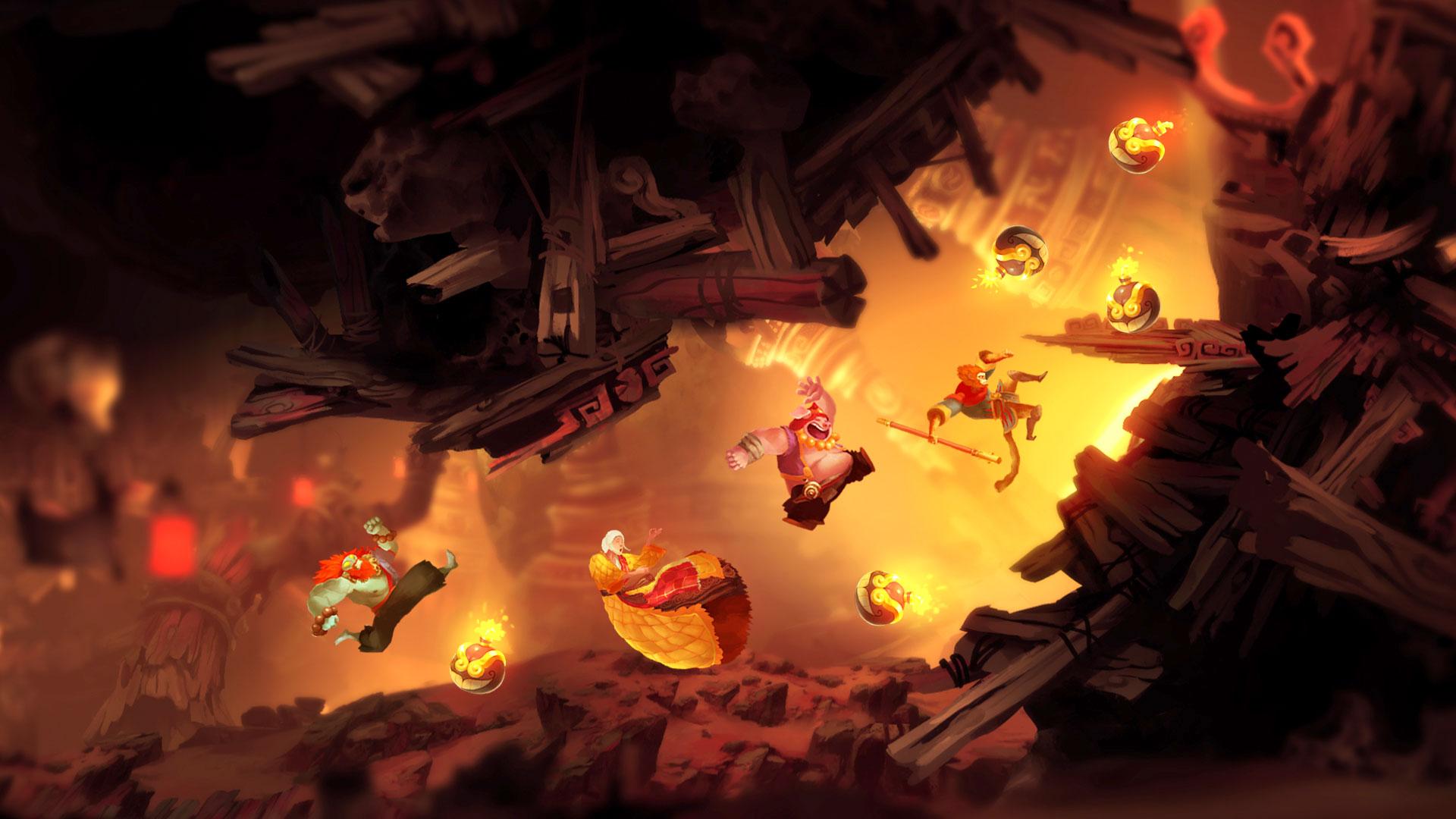 """Wärmt mit """"Rayman""""-ähnlichen Bildern die chinesische """"Reise nach Westen"""" wieder auf: das spektakulär illustrierte Action-Jump'n'Run """"Unruly Heroes""""."""