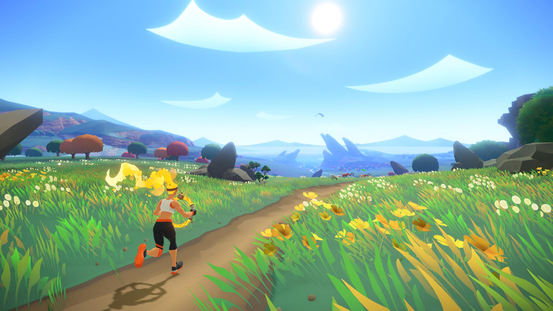 Um den muskulösen Avatar in Bewegung zu kriegen, muss der Spieler auf der Stelle joggen.