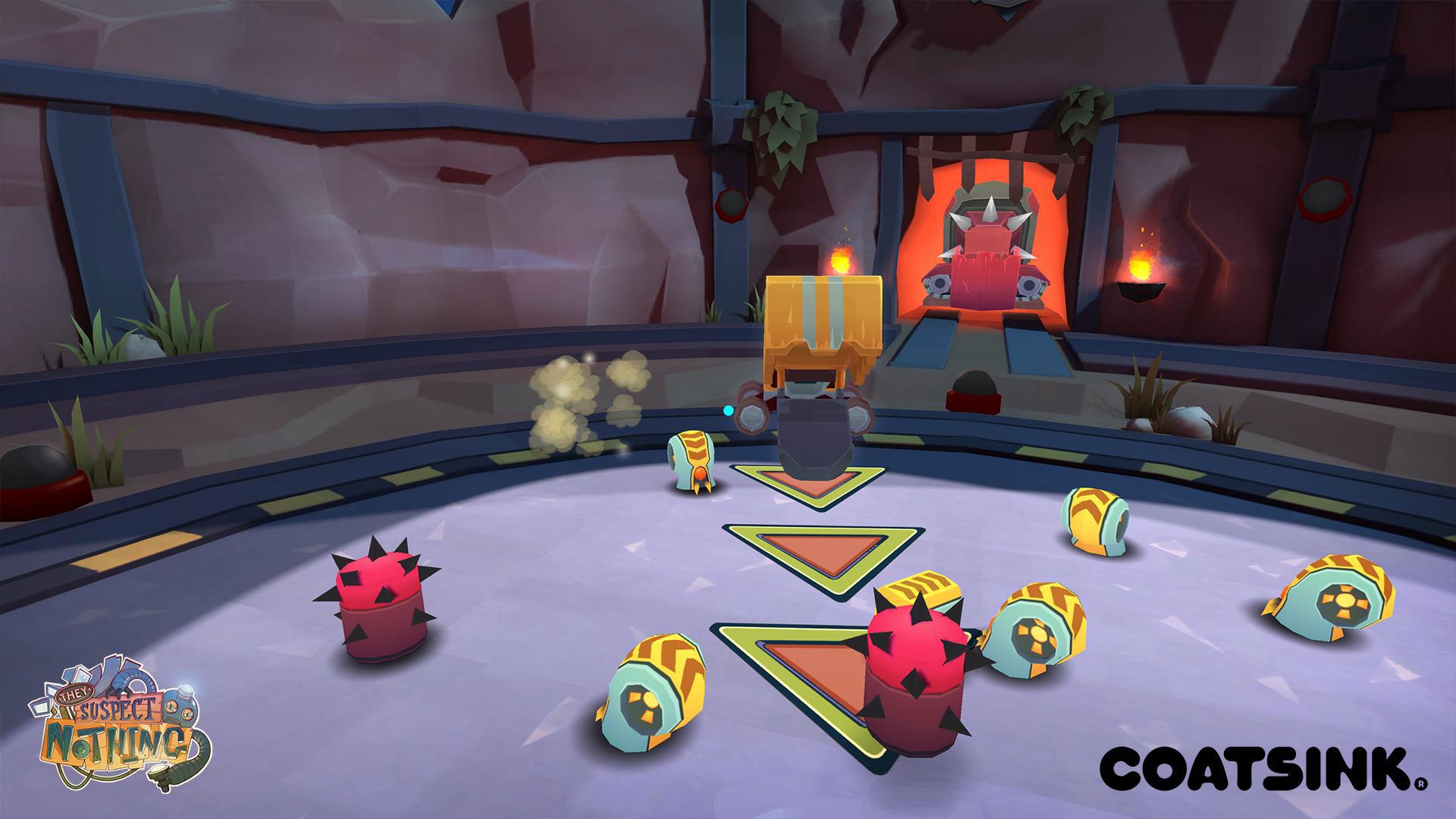"""... die lustige Minispiel-Sammlung """"They Suspect Nothing"""", mit der Spieler in einen Minigame-Kosmos voller durchgedrehter Cartoon-Roboter abtauchen."""