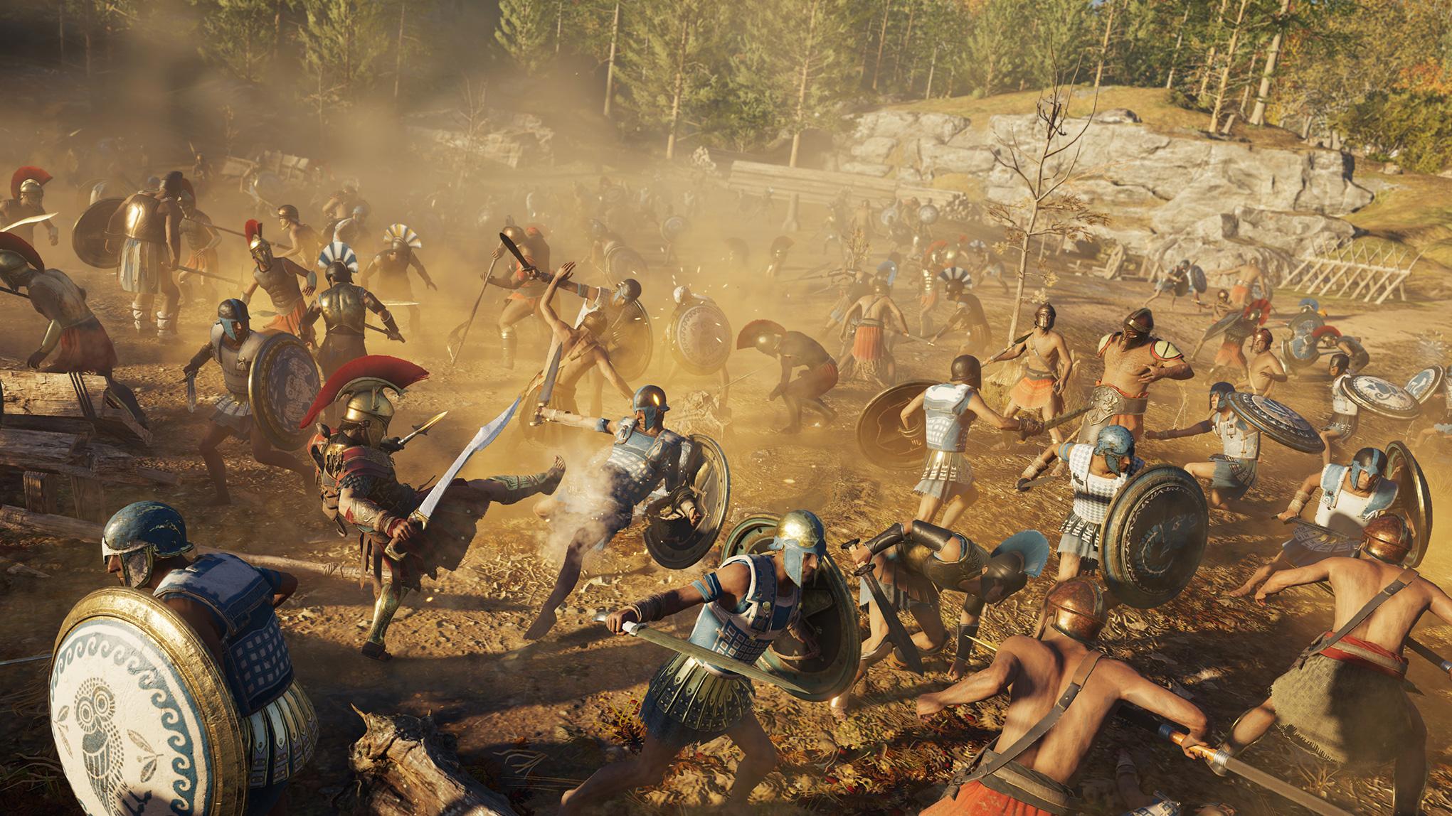 """Kommen in """"Odyssey"""" häufiger vor als in anderen Serien-Teilen: Massenschlachten. Um die kriegerischen Konflikte in Gang zu bringen, muss man das zu erobernde Gebiet zuerst destabilisieren und dann seinen Anführer meucheln."""