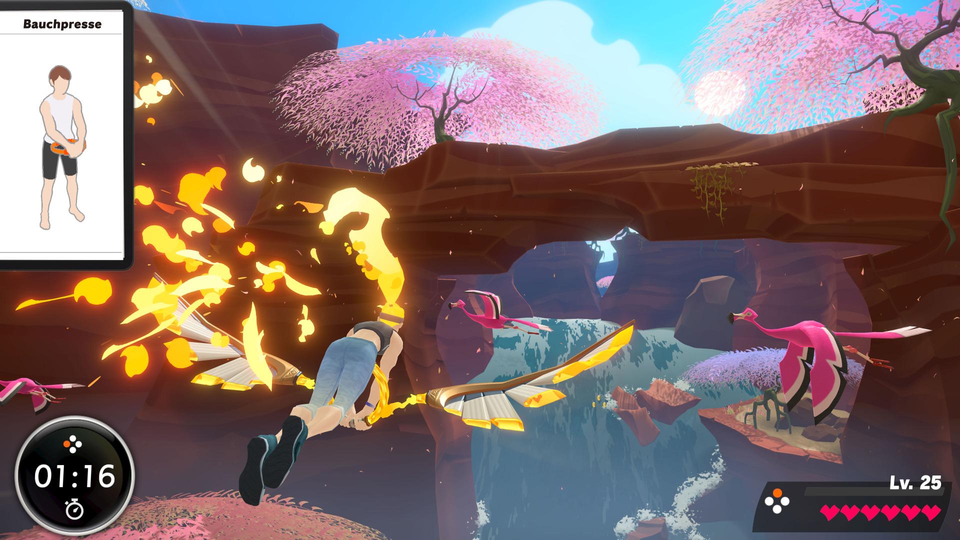 Zum Fliegen und Schweben spreizt beziehungsweise komprimiert der Spieler den Ring.