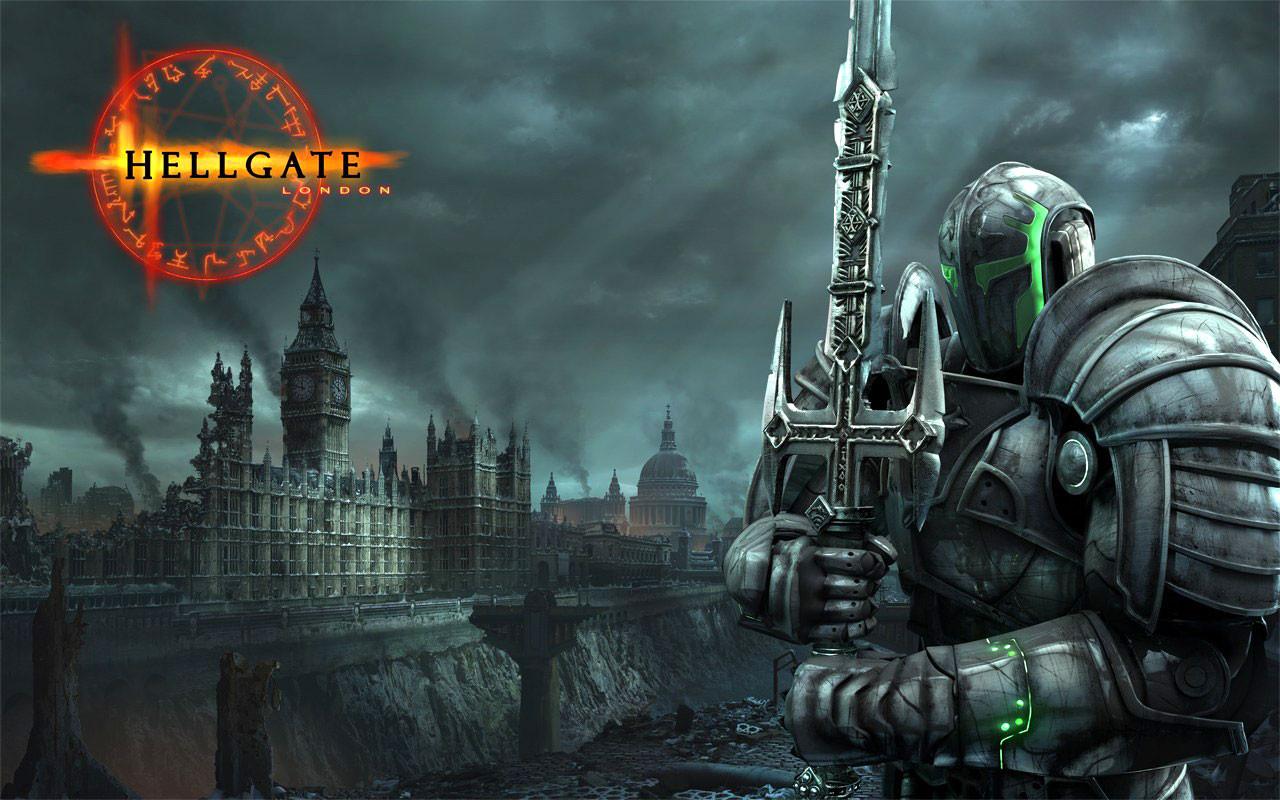 """Das """"Diablo""""-verwandte Action-RPG """"Hellgate London"""" aus den inzwischen geschlossenen 'Flagship Studios' ging von einem durch Dämonen herbeigeführten Weltuntergang aus: Die Verwandtschaft zum """"Fallout""""-Look ist bei dieser Abbildung unübersehbar."""