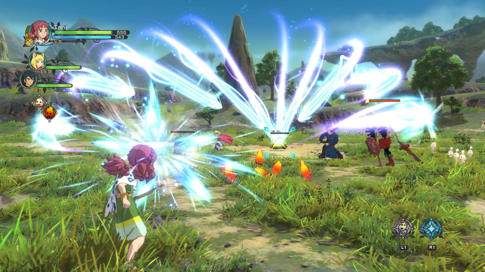 Bei Kämpfen auf der Oberlandkarte wird in eine extra Gefechts-Arena umgeschaltet. Hier beharken die Helden ihre Gegner mit Hieben, Spezialangriffen und Zaubersprüchen.