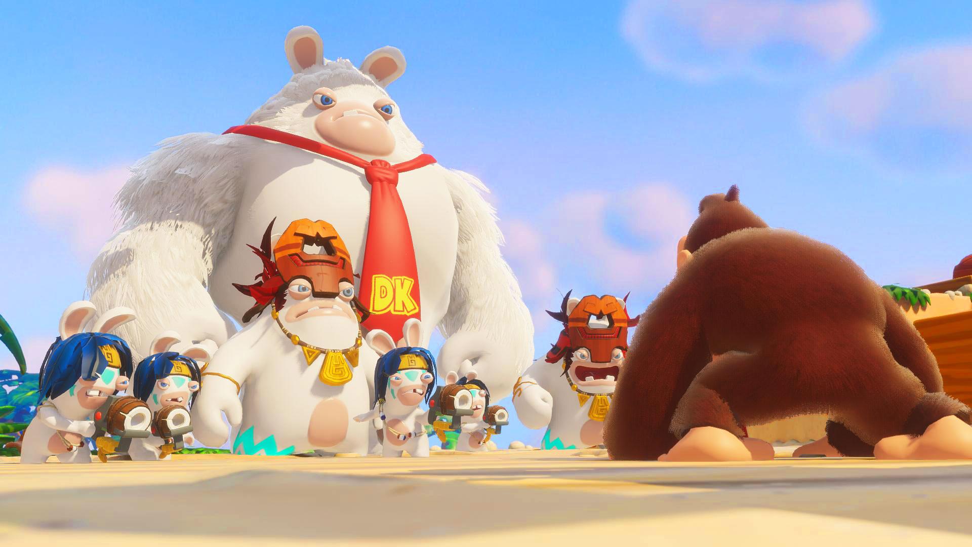 """Auch Jump'n'Run-Affe Donkey Kong trifft jetzt zur Crossover-Crew aus """"Mario & Rabbids: Kingondom Battle"""": """"Donkey Kong Adventure"""" ist eine Erweiterung für das putzige Strategie-Spiel und erscheint schon am 26. Juni."""