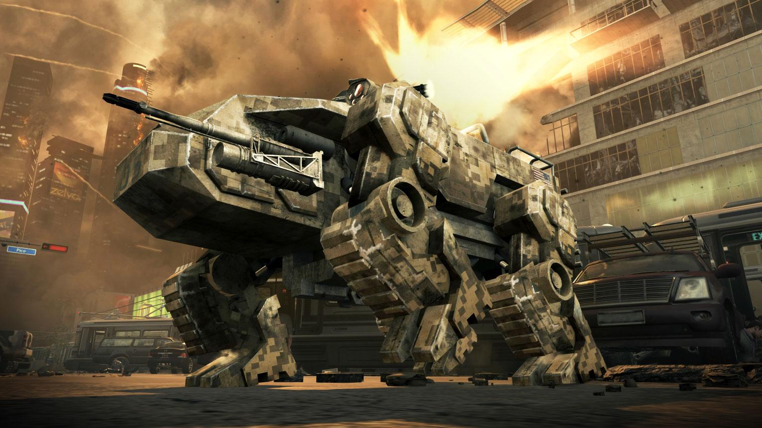 """2012 der nächste Zeitsprung: Activision verortet """"Black Ops 2"""" in einer nicht mehr ganz so nahen Zukunft, zum ersten Mal stapfen Battle-Mechs und ähnliche Technik-Ungetüme durchs """"Call of Duty""""-Terrain."""