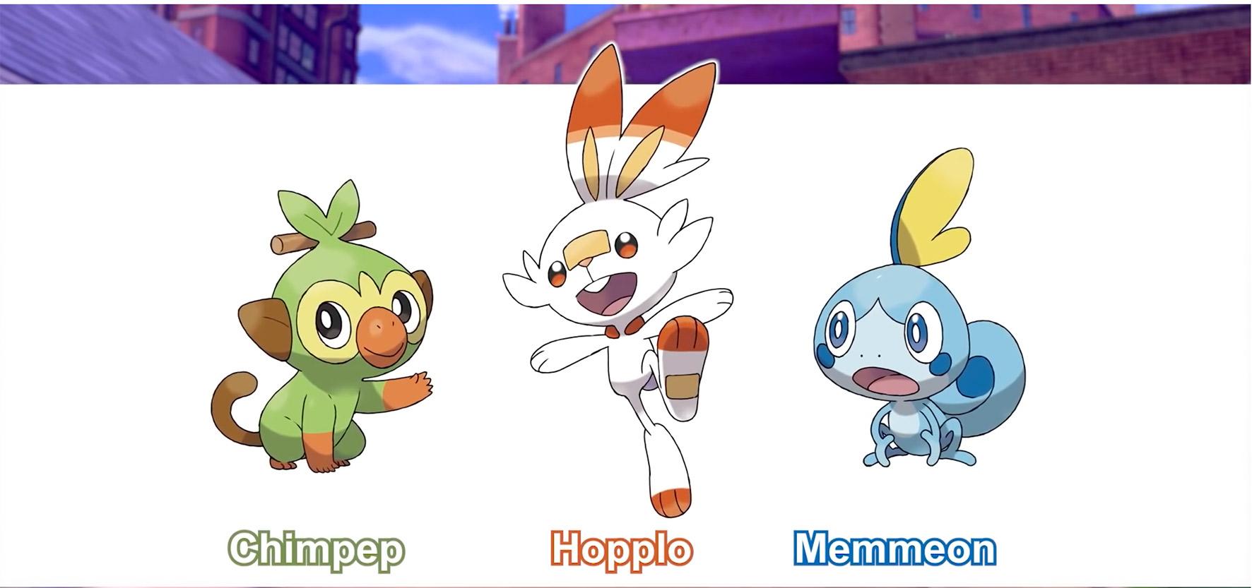 Zwischen diese drei gut gelaunten Pokémon wählt der Spieler seinen Start-Begleiter: Chimpep, Hopplo und Memmeon.