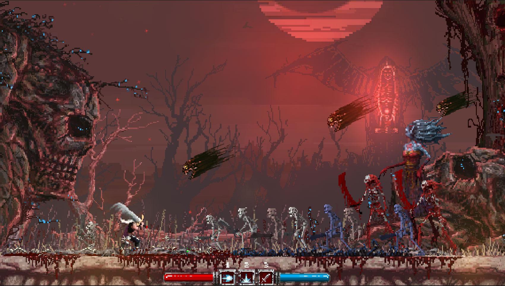 """Harte Gitarren-Riffs, stilvolle Pixel-Optik, """"Castlevania""""-verwandtes Gameplay und hektoliterweise Bildschirmblut: Das knallharte """"Slain"""" ist ein Pflichtzock für Metal-Heads mit Retro-DNA. (5.10. für PS4, XBO)"""