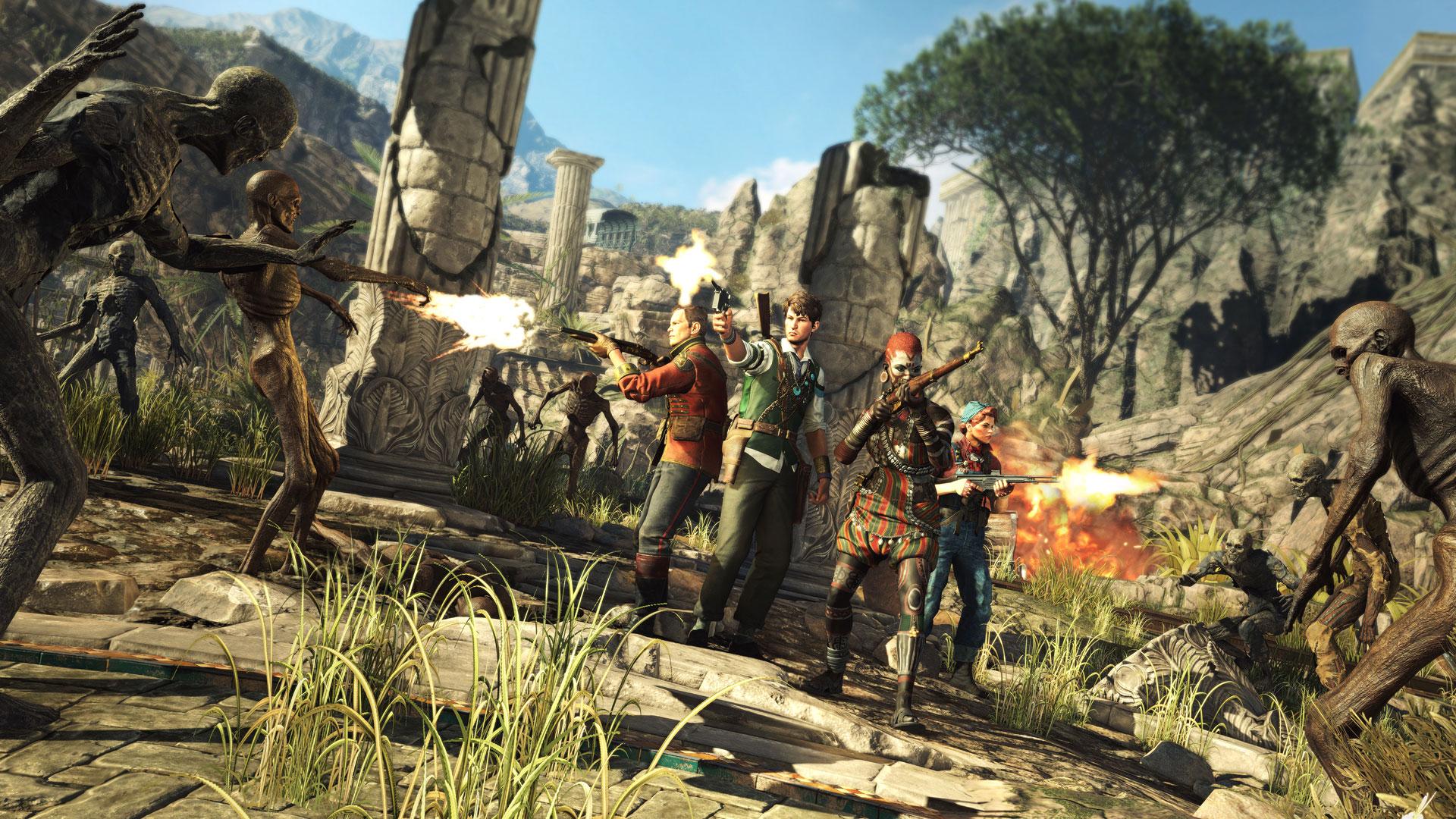 """Rücken an Rücken: Rebellions Anti-Monster-Shooter macht als Gruppe am meisten Spaß. Entscheidet man sich stattdessen für ein """"Solo-Abenteuer"""", skaliert das Spiel die Gegner-Mengen gelungen herunter."""