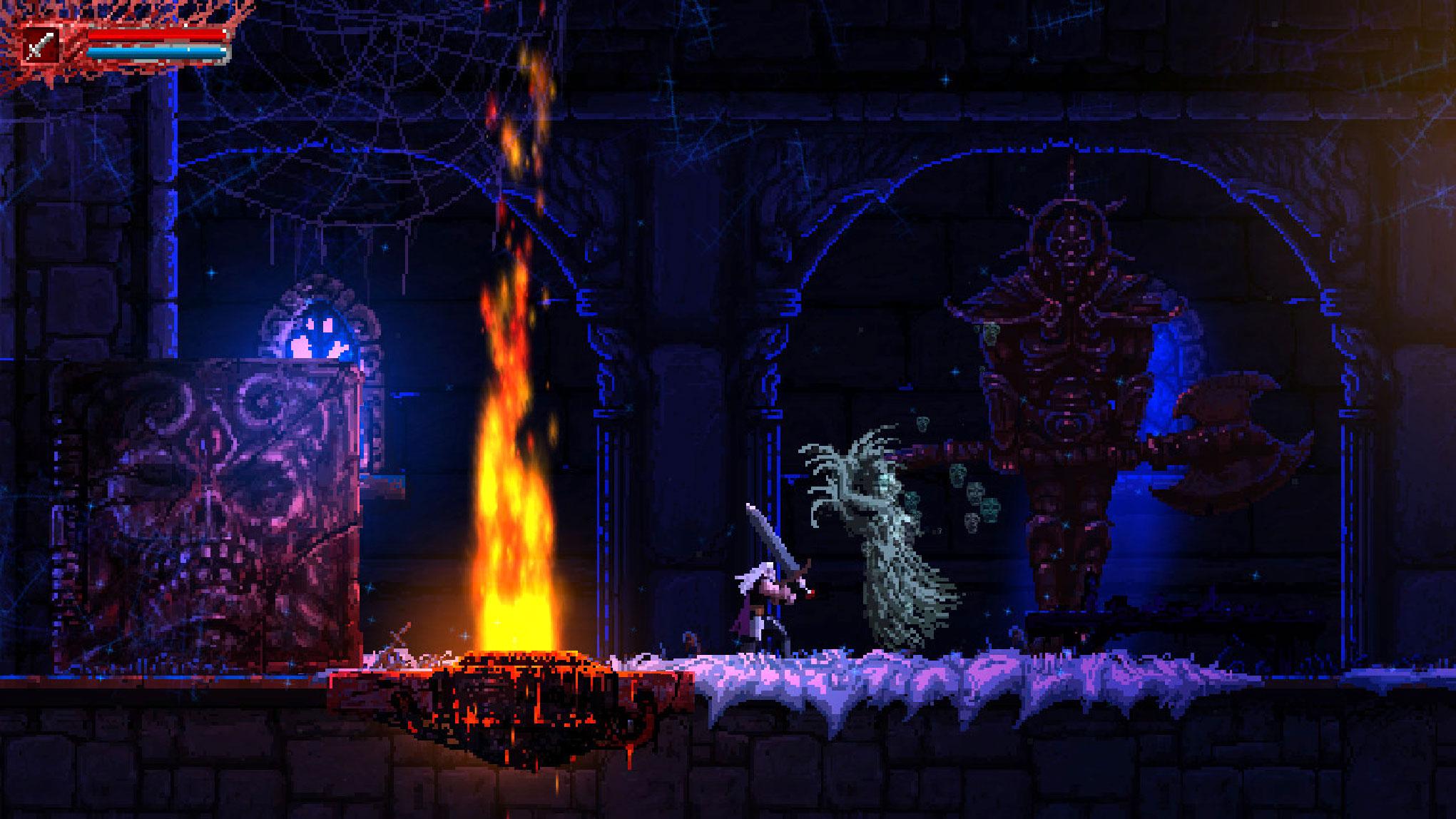 """""""Castlevania""""-Klon im Blutrausch: Wie im großem Vorbild metzelt sich auch in """"Slain"""" ein Held mit langer Pixel-Mähne durch eine mit arglistigen Fallen und garstigen Monstrositäten gespickte Gothic-Kulisse. • ab 13.09. für PS4, PS Vita, Xbox One, WiiU"""